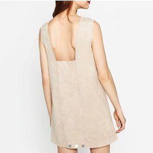 Zara W/B Faux Suede Dress Shift Beige Sexy Medium